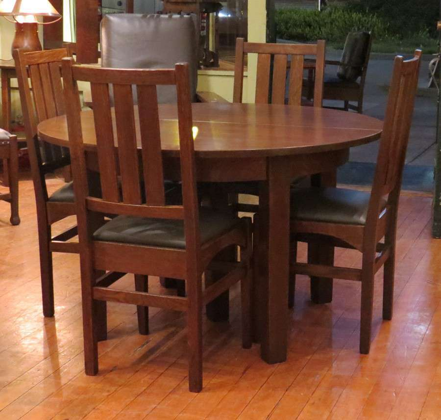 Harvey Ellis Designed Gustav Stickley Dining Chairs L Amp Jg Stickley 5 Leg Dining Table