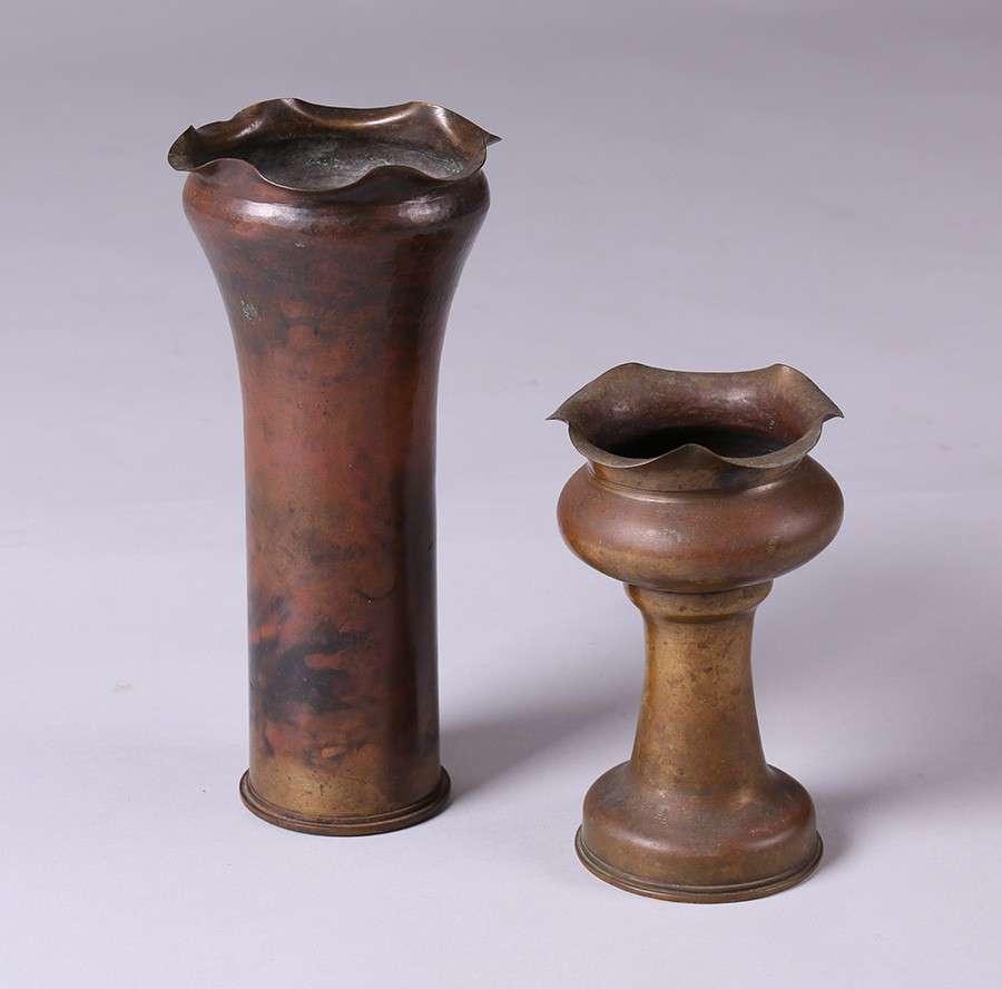 Two Important Dirk Van Erp Shell Casing Vases California Historical Design