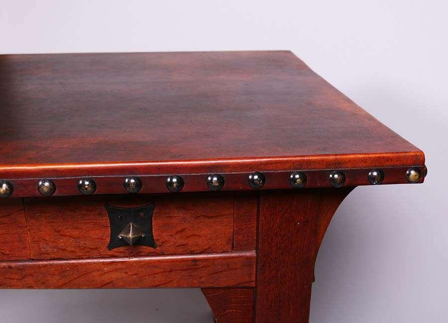 Early Gustav Stickley Leather Top Desk Circa 1901