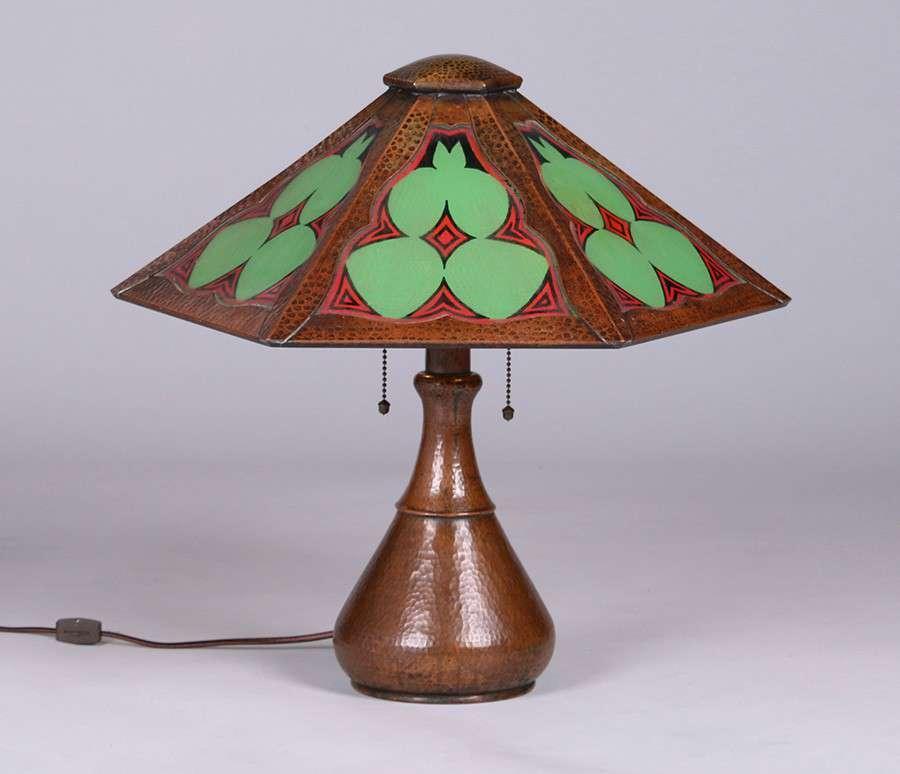 Limbert Hammered Copper 6 Panel Lamp California