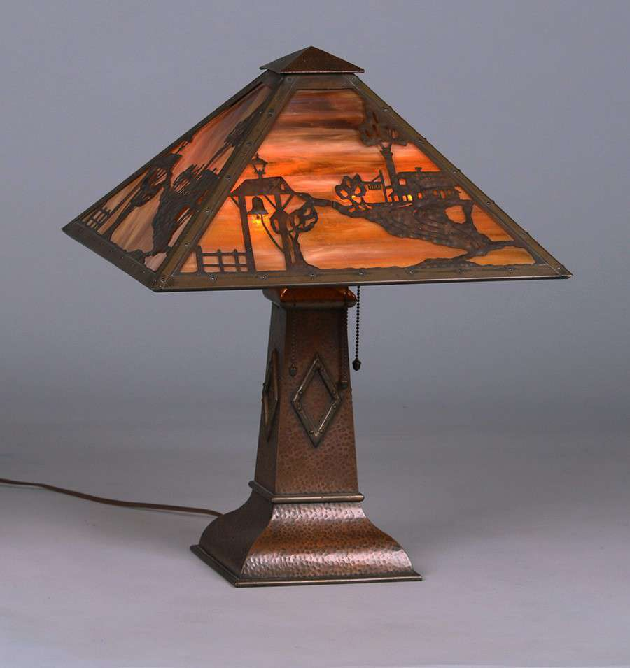 Square Limbert Hammered Copper Lamp California