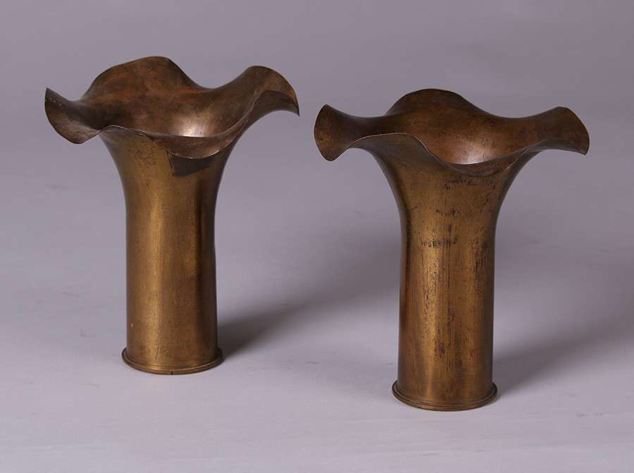 Pair Of Matching Dirk Van Erp Flared And Scalloped Shell Casing Vases California Historical Design