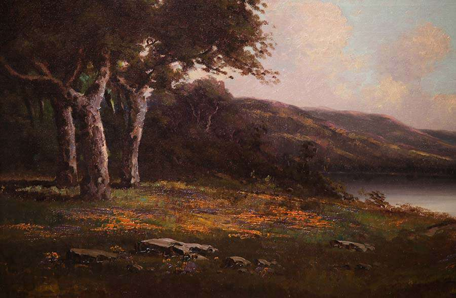 Richard Detreville Landscape Painting Oak Trees And Lake California Historical Design