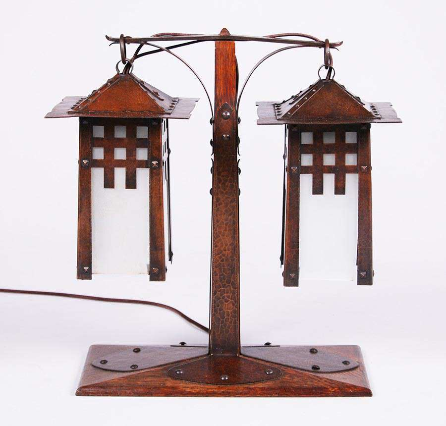 Attributed to Gustav Stickley Hammered Copper Double Lamp ...