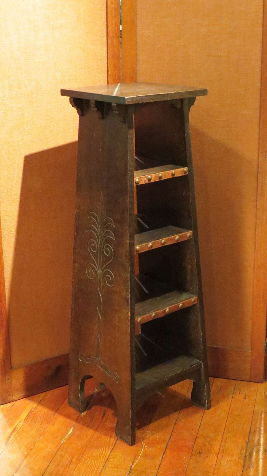 Early Gustav Stickley Tree Of Life Magazine Stand