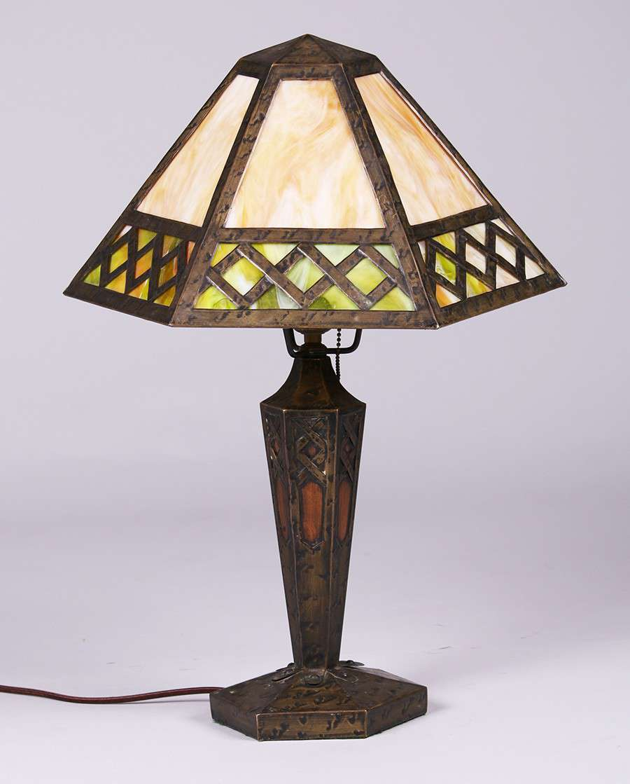 Arts Amp Crafts 6 Sided Brass And Slagglas Lamp California
