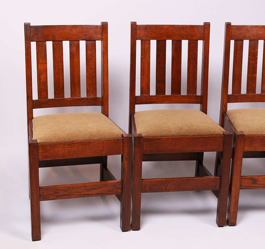 Set Of 4 Mission Oak Dining Chairs C1910 California