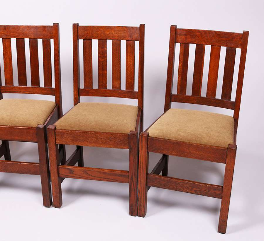 Set Of 4 Mission Oak Dining Chairs C1910 California Historical Design