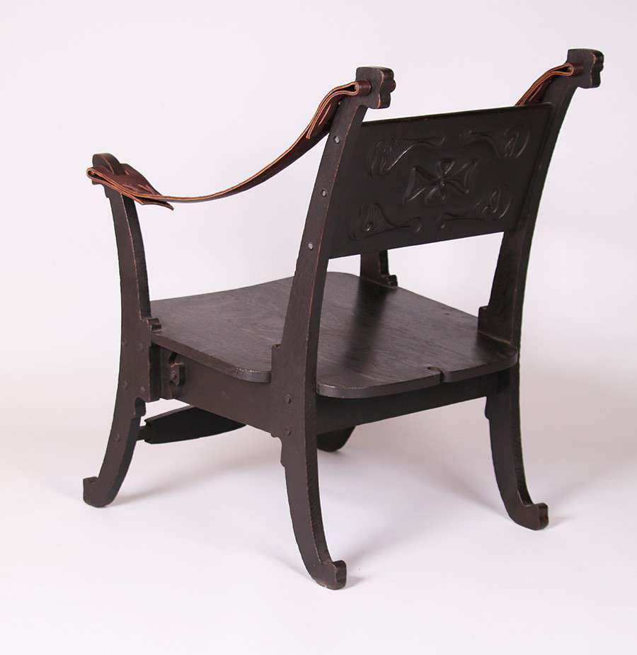 Charles Rohlfs Carved Oak Armchair | California Historical Design