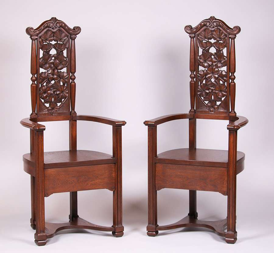 Mathews Furniture Shop Armchairs With Carved California Poppies
