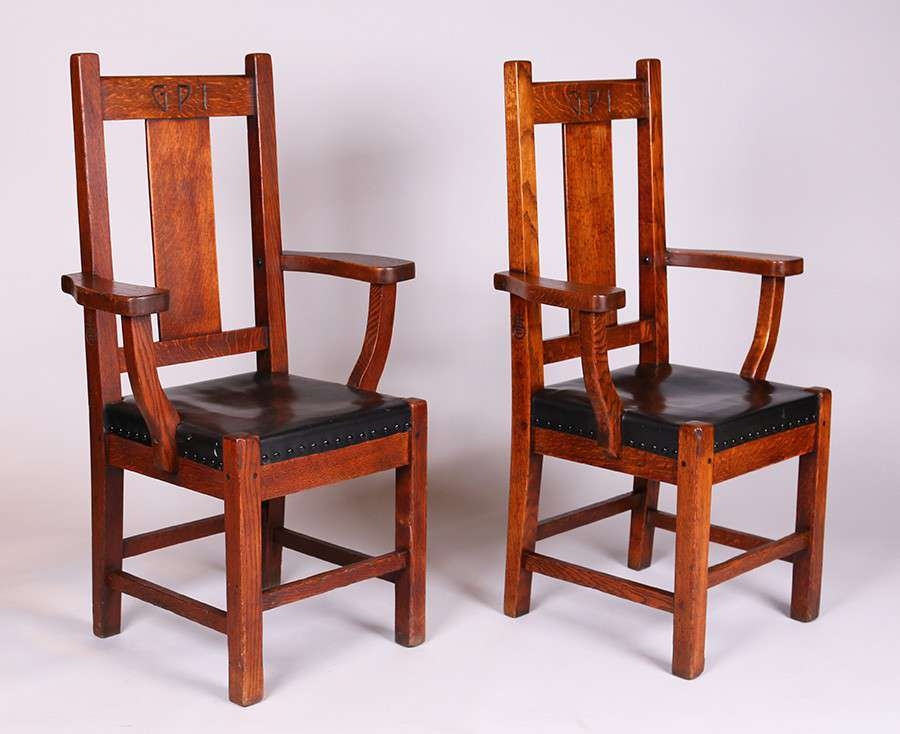Pr Roycroft Gpi Armchairs Originally Made For The Grove Park Inn In Asheville Nc C1913
