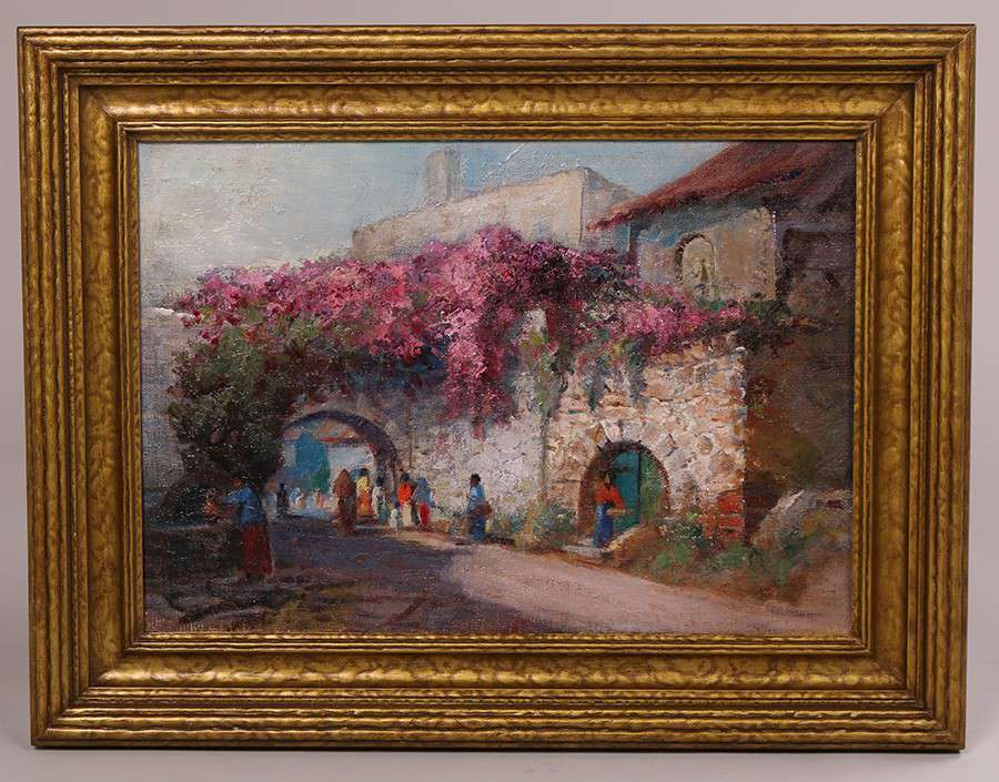 Arthur Best Attributed Painting Of A Southwest Or Mexican Village California Historical Design