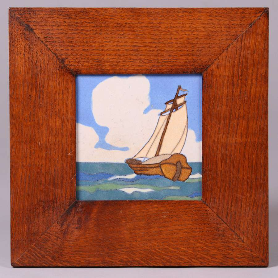 Flint Faience Framed Ship Tile California Historical Design