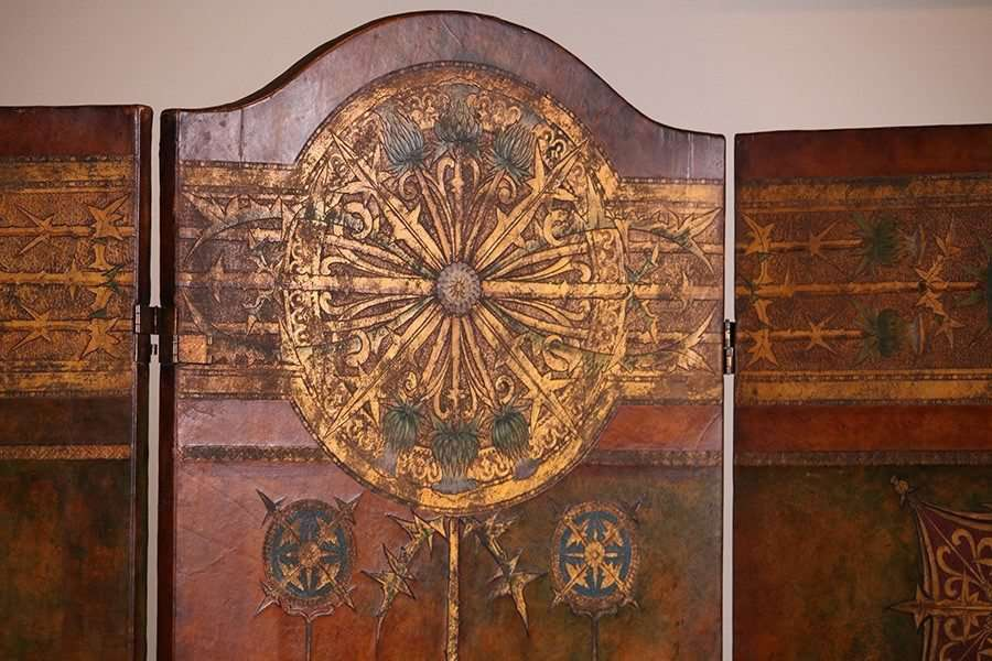 Arts Amp Crafts Hand Tooled Leather Screen California Historical Design