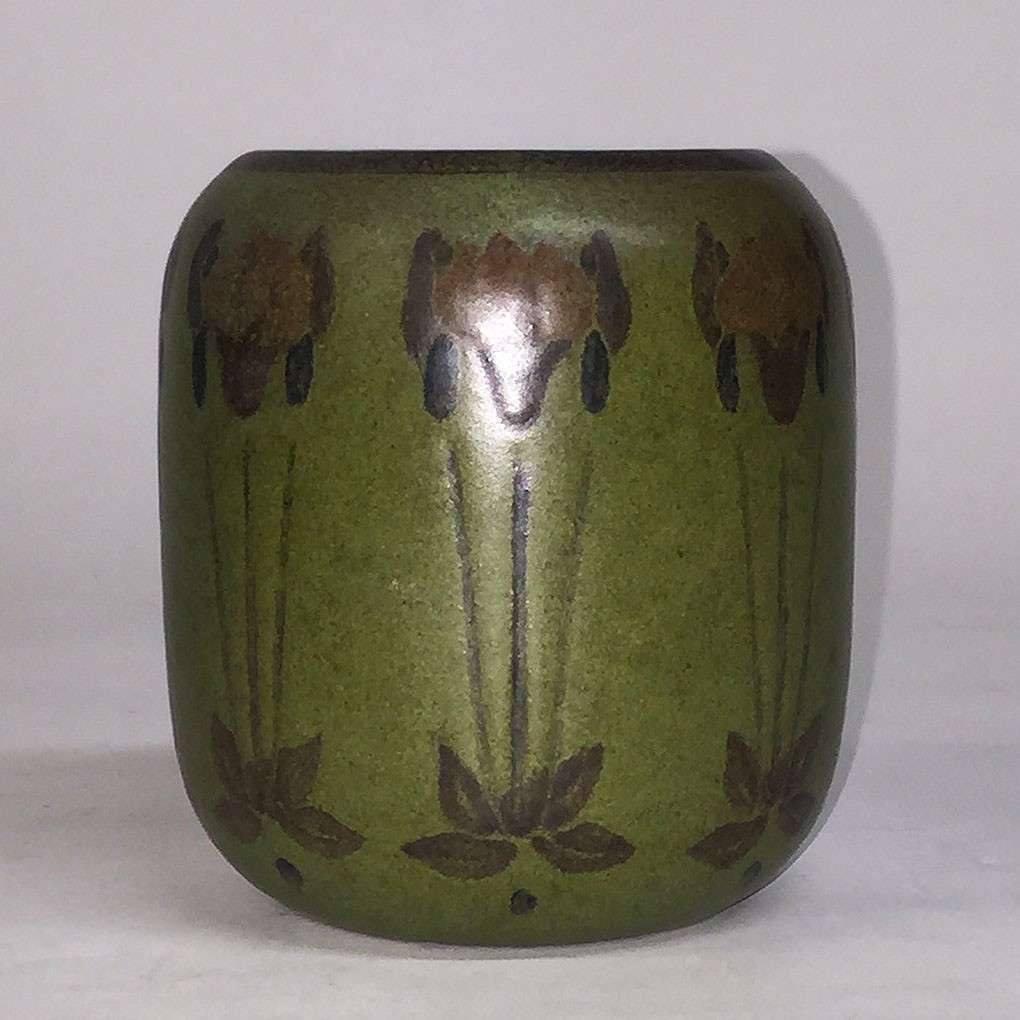 Decorated Marblehead Pottery Vase By Hannah Tutt California Historical Design