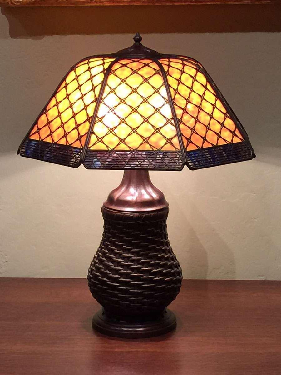 Handel Basket Weave Overlay Lamp With Rare Matching Base California Historical Design