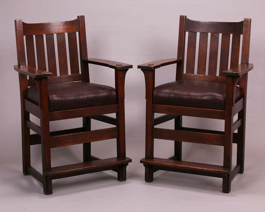 4 Lu0026JG Stickley Billiard Chair Bar Stools