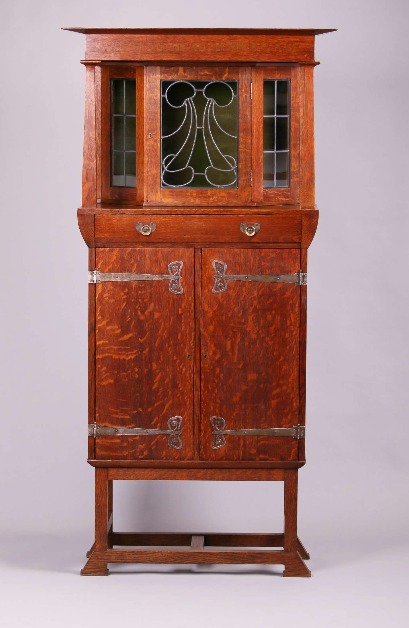 English Arts Amp Crafts Cabinet With Strap Hinges And Leaded
