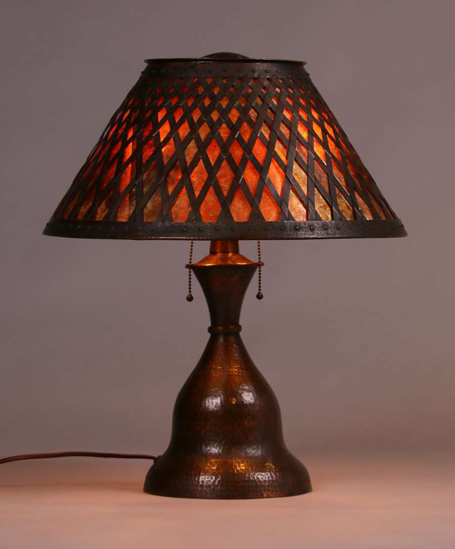 Fantastic Stickley Brothers Hammered Copper & Mica Lamp