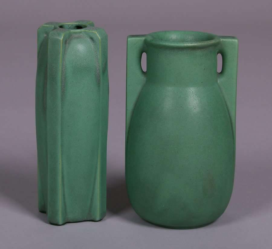 Teco Matte Green Vases California Historical Design