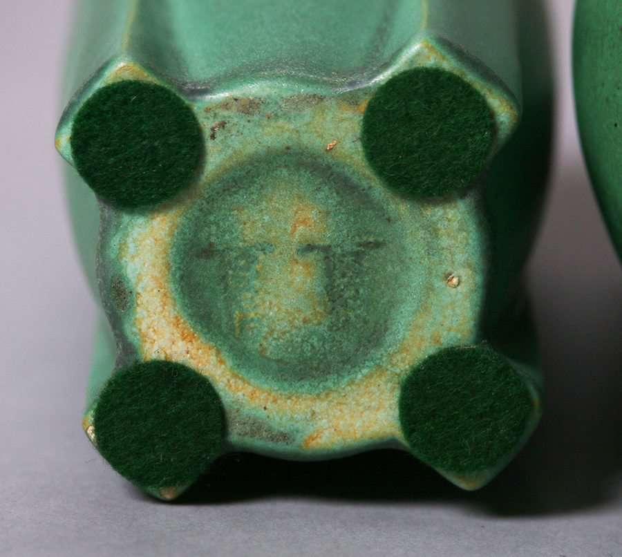Teco Matte Green Vases California Historical Design