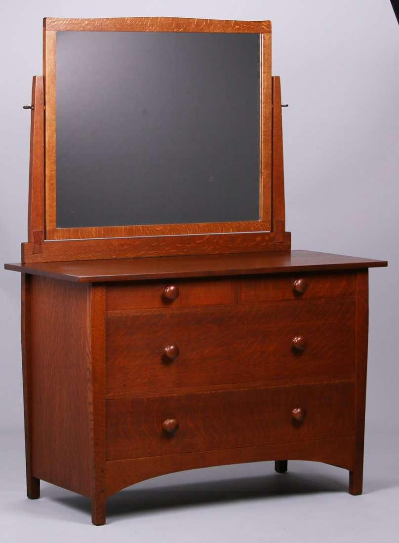 Gustav Stickley Four Drawer Dresser With Mirror