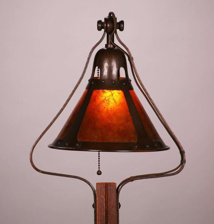 Michael Adams Gustav Stickley Designed Oak Floor Lamp