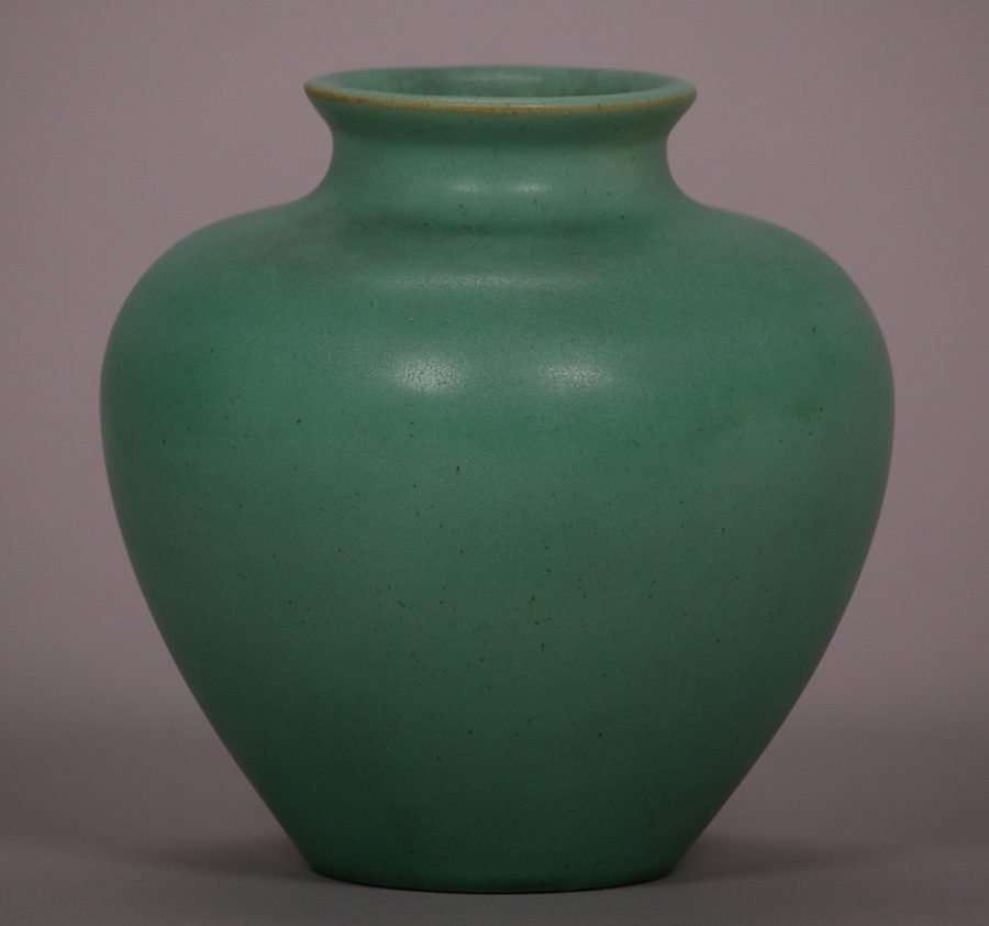 Teco Matte Green Bulbous Vase California Historical Design