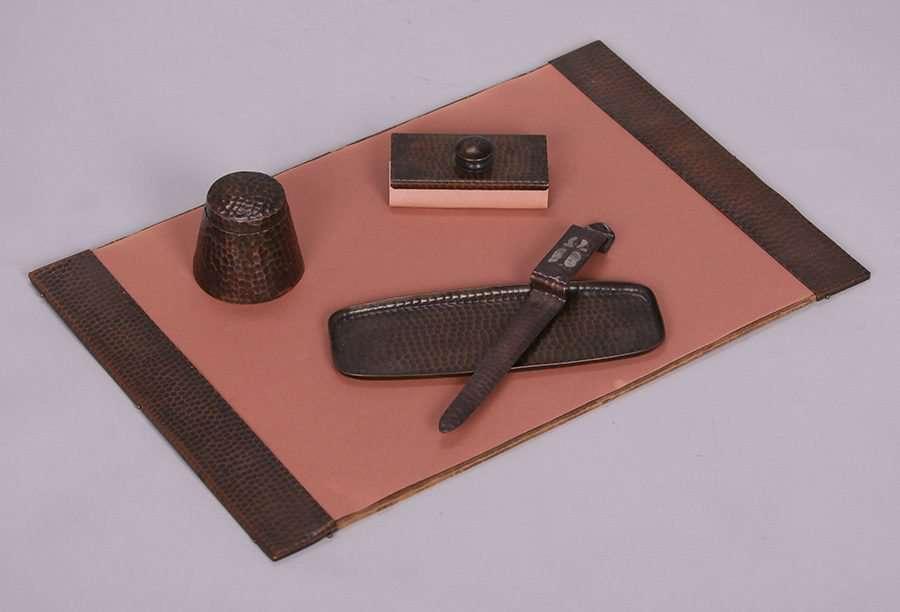 Craftsman Studios Hammered Copper 5 Piece Desk Set