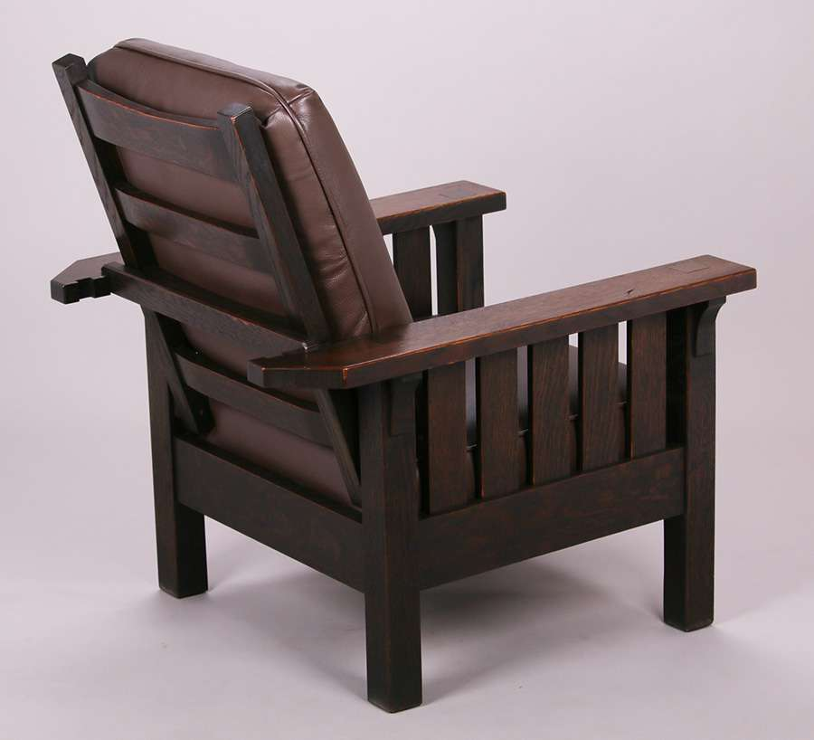 Mary Morris Chair Aerobics: Massive Early L&JG Stickley Onondaga Morris Chair C1902