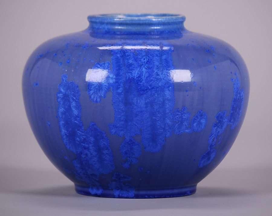 Thomas Gotham Blue Crystalline Vase California Historical Design