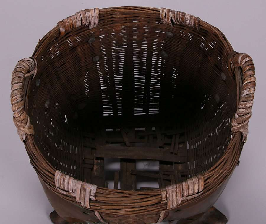 Chinese Basket With Dirk Van Erp Hammered Copper Feet California Historical Design