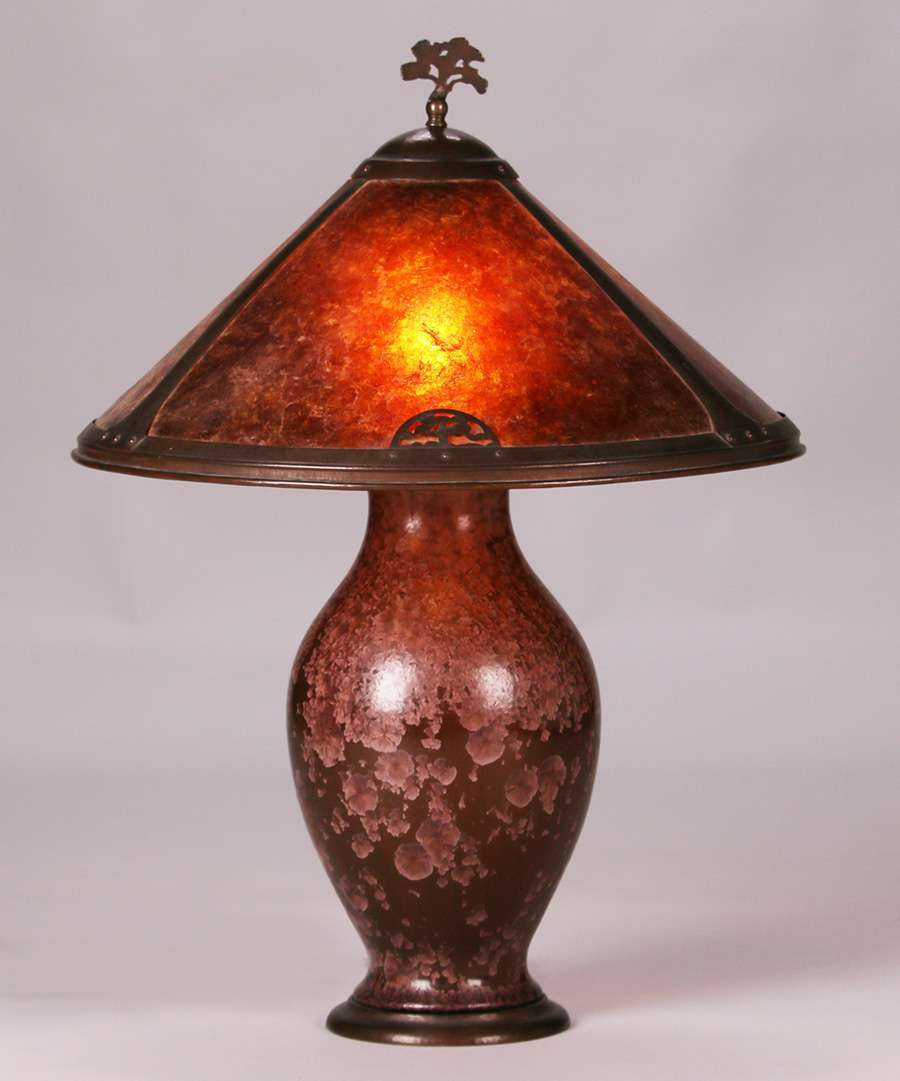 Dirk Van Erp Hammered Copper Amp Mica Lamp On A Thomas Gotham Base California Historical Design