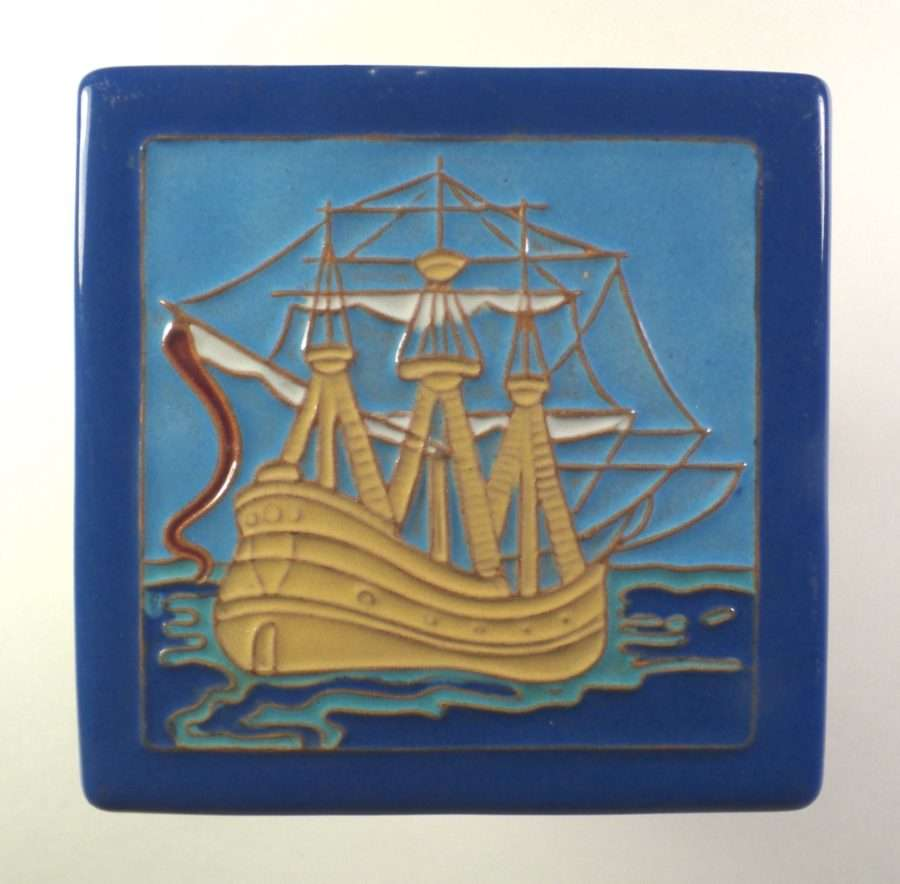 california faience square galleon ship tile - Faience Coloree Cuisine