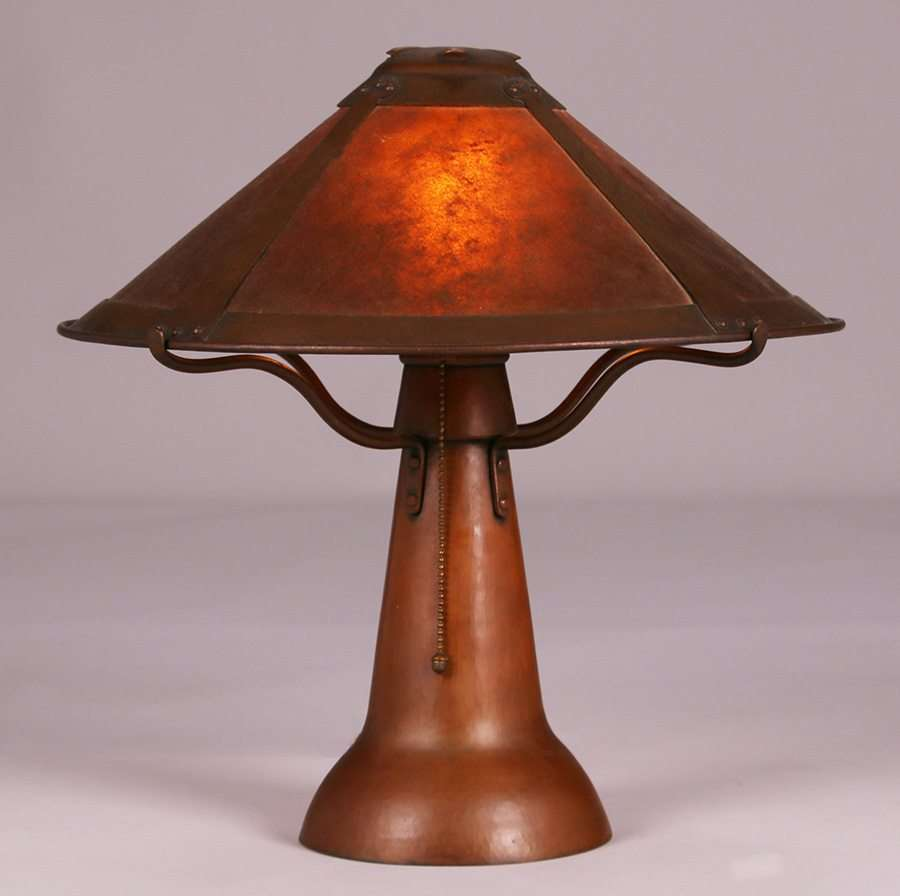 Dirk Van Erp D Arcy Gaw Hammered Copper Amp Mica Lamp C1910 California Historical Design