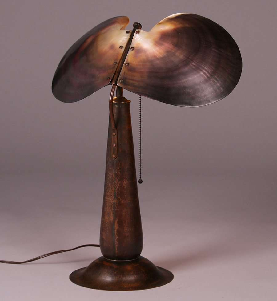 Rare Amp Unusual Dirk Van Erp Hammered Copper Amp Shell Lamp California Historical Design