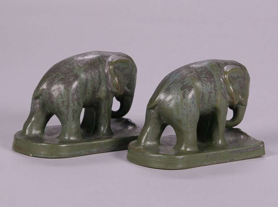 Monmouth Pottery Elephant Bookends California Historical