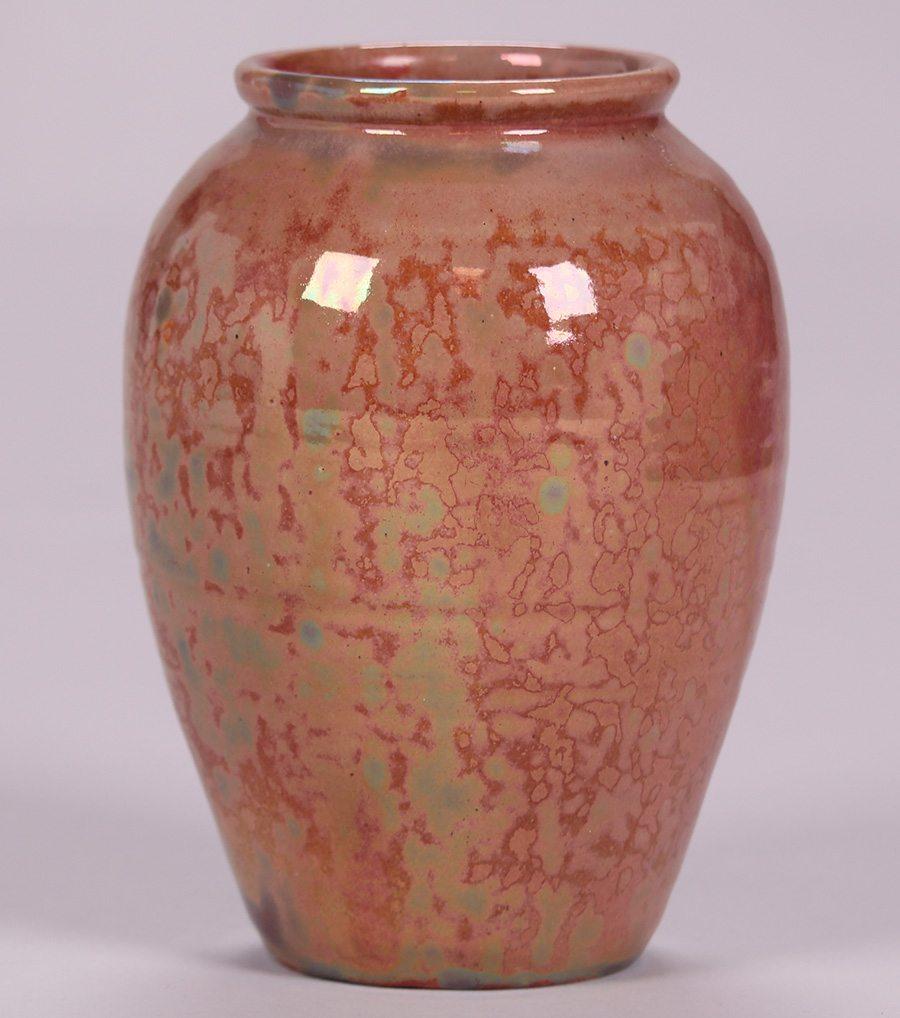 Pewabic Vase With An Iridescent Red Glaze California Historical Design