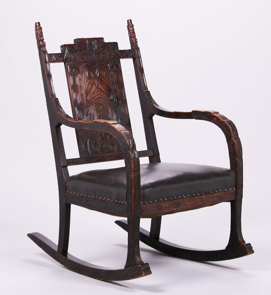 ... Carved Walnut Rocking Chair c1900-1910  California Historical Design