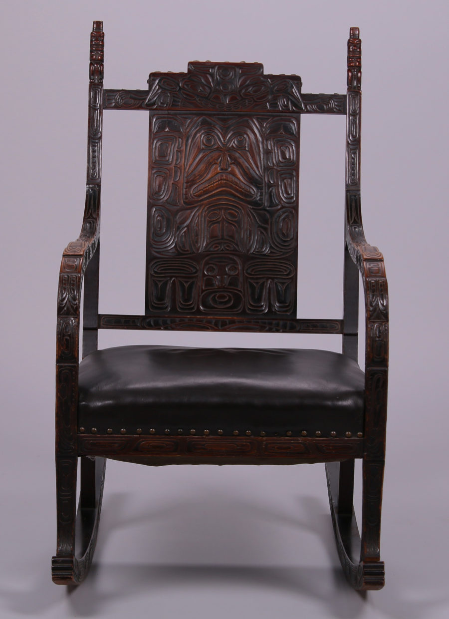 Northwest Coast Tlingit Style Carved Walnut Rocking Chair C1900 1910 California Historical Design