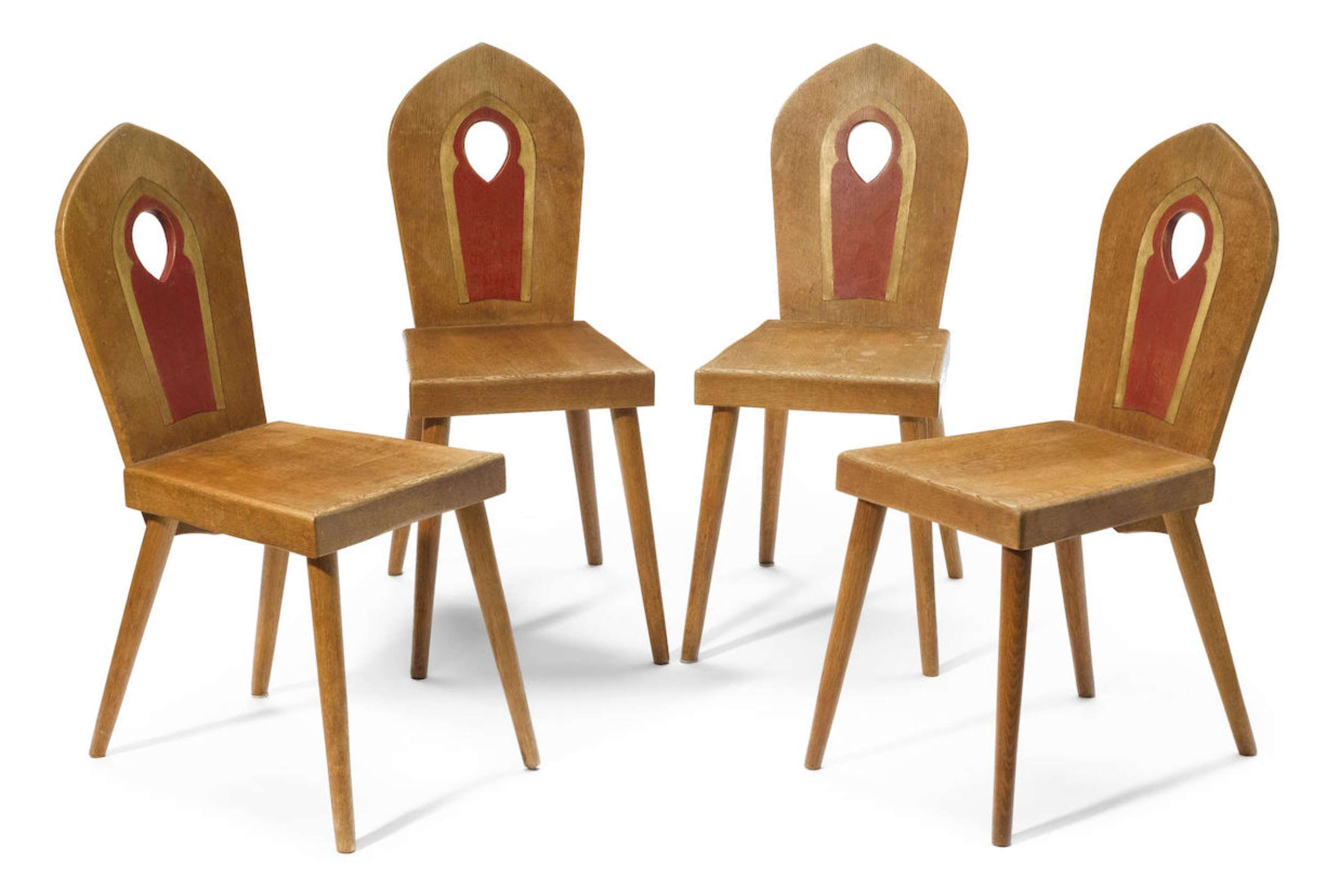 Set Of 4 Bernard Maybeck Oak Chairs C1923