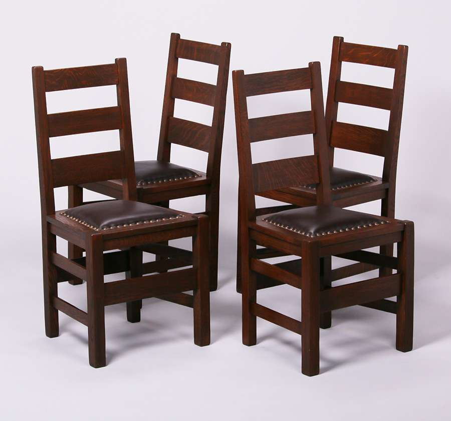 4 Stickley Brothers Ladder Back Dining Chairs California