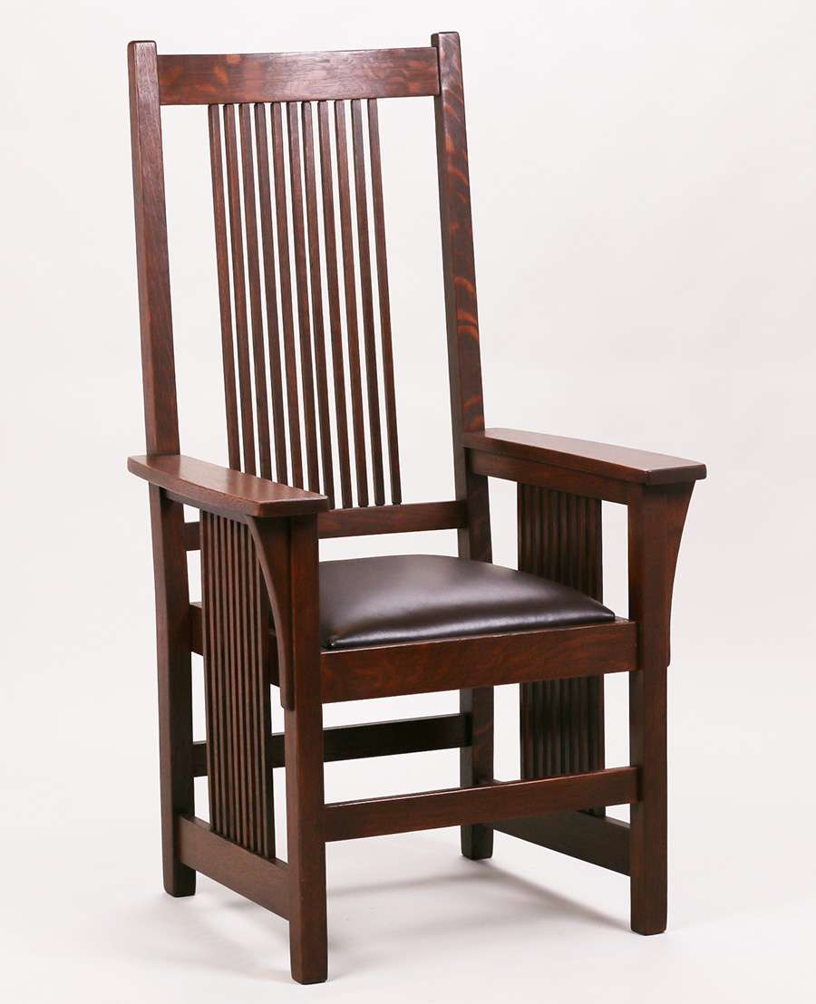 Gustav Stickley Spindled Armchair California Historical