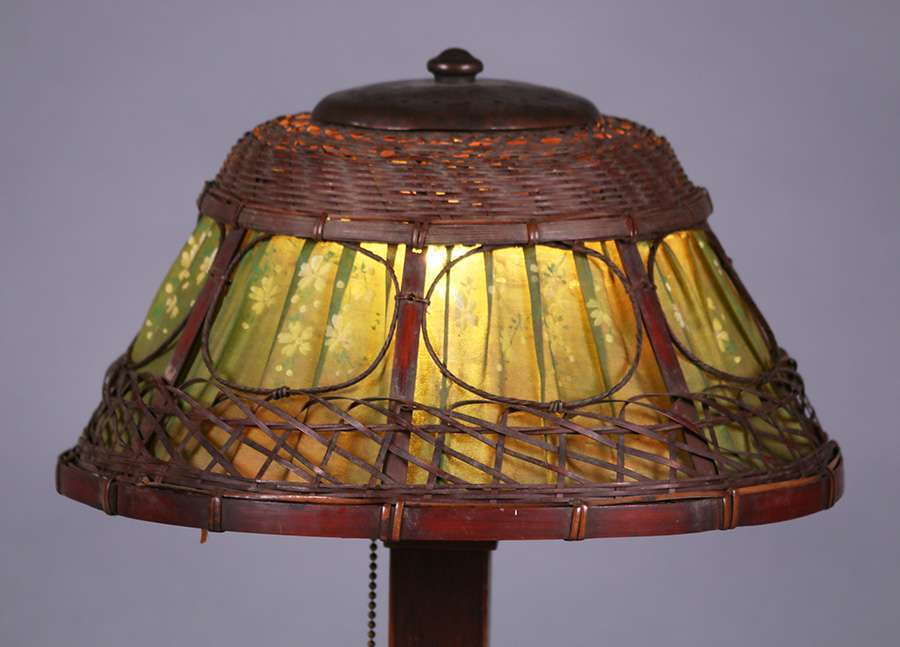 Gustav Stickley Oak Hammered Copper Amp Wicker Lamp California Historical Design