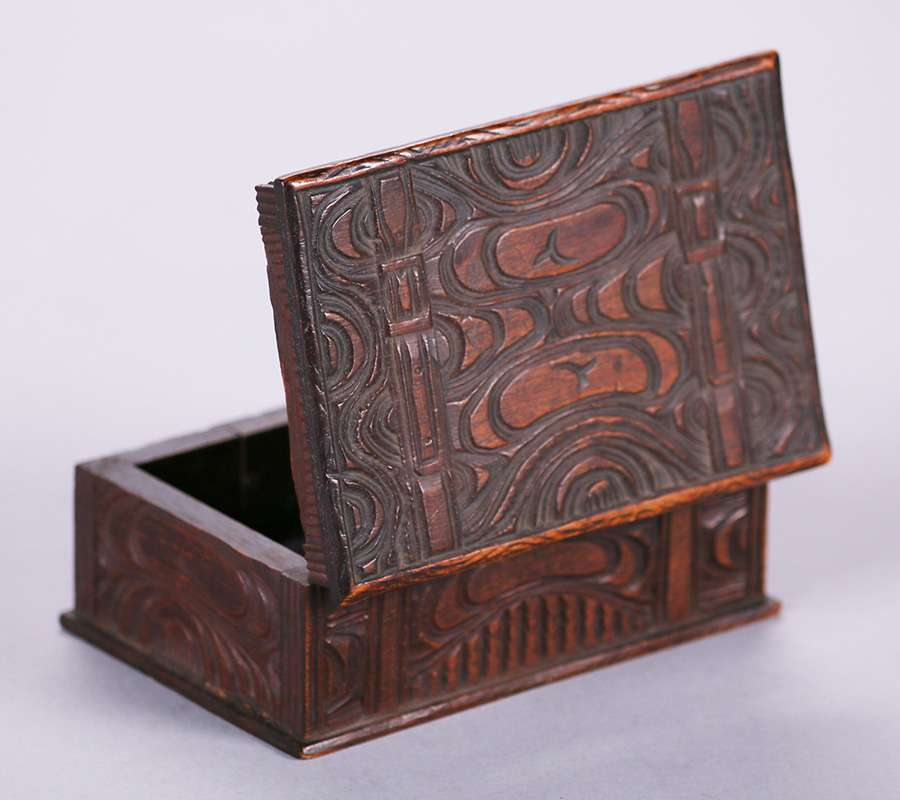 Pacific Northwest Coast Carved Wooden Box C1910