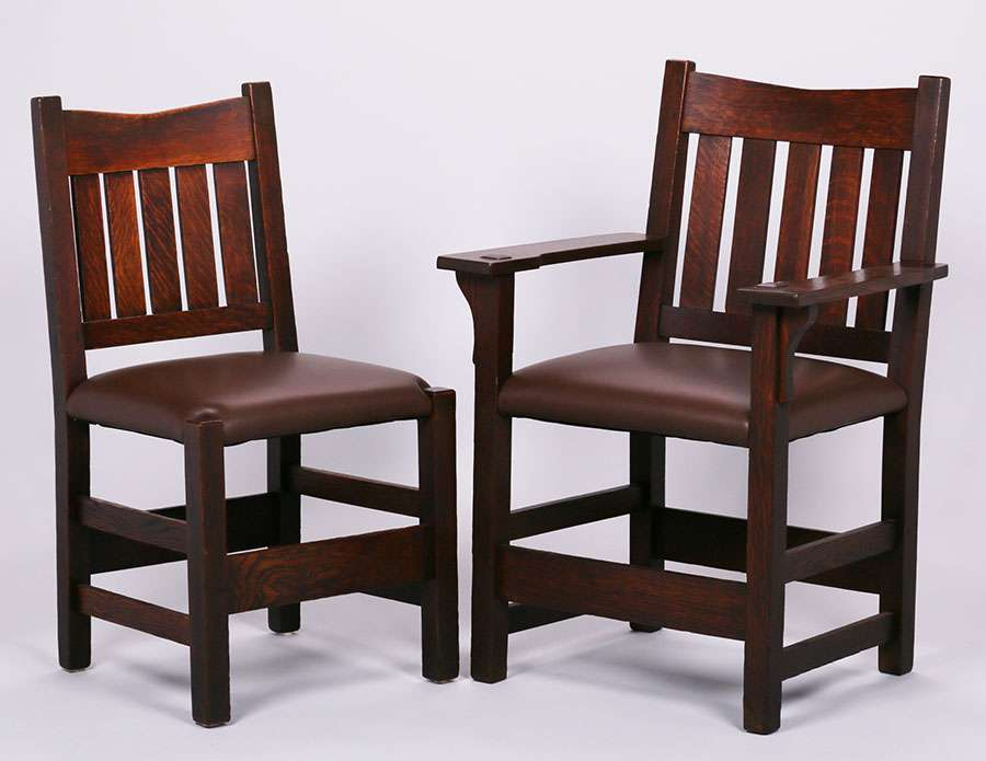 Set Of 4 Gustav Stickley V Back Dining Chairs California