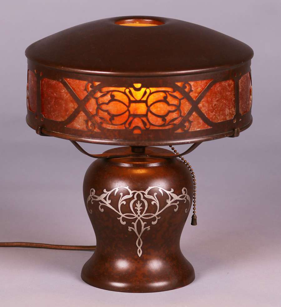 Heintz Sterling On Bronze Lamp California Historical Design