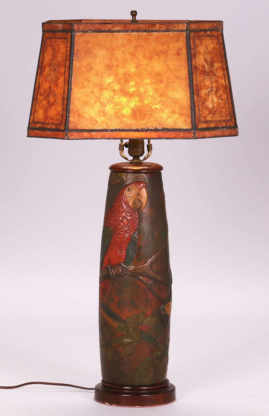 Arts U0026 Crafts Hand Tooled Leather Lamp With Exquisite Parrot Design C1920s.  The Leather Workmanship Of This Lamp Is As Good As It Gets. Unsigned.