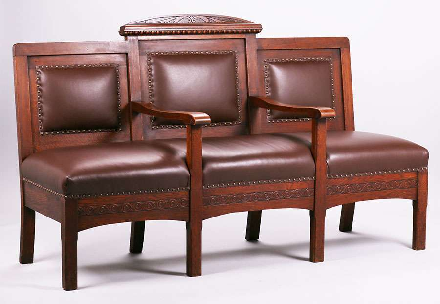 Mathews Furniture Shop Carved Oak 3 Section Settle