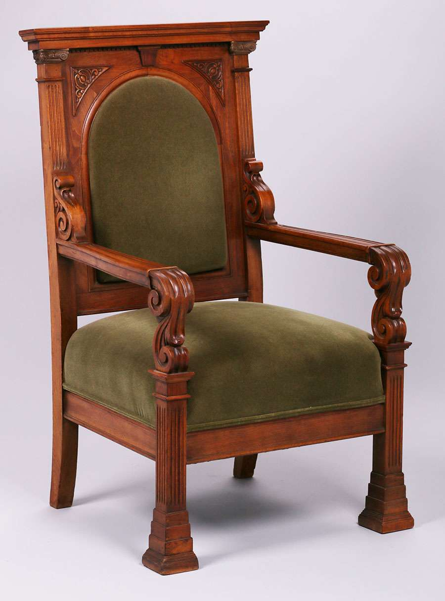 Mathews Furniture Shop Carved Throne Chair | California Historical Design